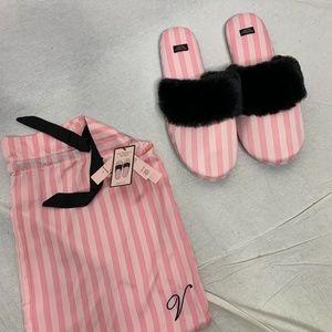 Victoria's Secret Pink White Stripe Slipper NWT